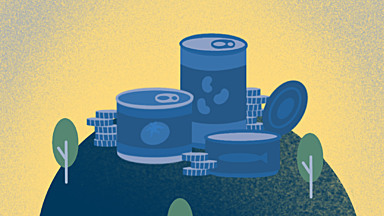 Blue and gold illustration of 3 canned food items and 3 stacks of coins