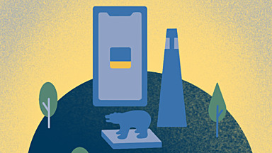 Blue and gold illustration showing a lighthouse, a cell phone, and a statue of a bear