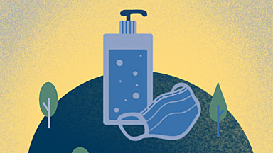 Blue and gold illustration of hand soap and a face covering