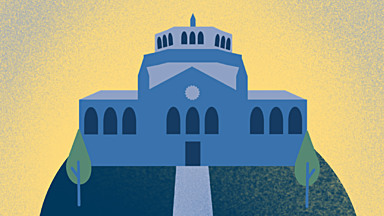 Blue and gold illustration of Royce Hall