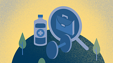 Blue and gold illustration of medical supplies, a magnifying glass, a briefcase, and a weight