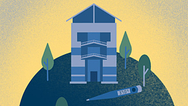 Blue and gold illustration of the UCLA Ashe Center and a thermometer