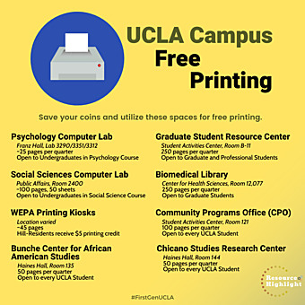 FREE printing locations around campus for both undergraduate and graduate students.