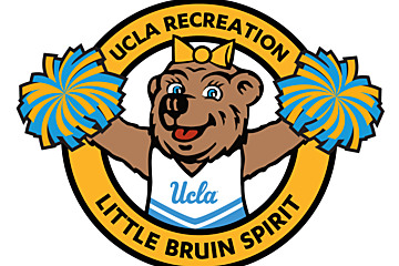 Blue and yellow Little Bruin Spirit program logo featuring a young Josie Bruin in a cheerleading uniform with blue and yellow pom poms
