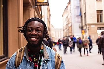 Young man smiling at camera