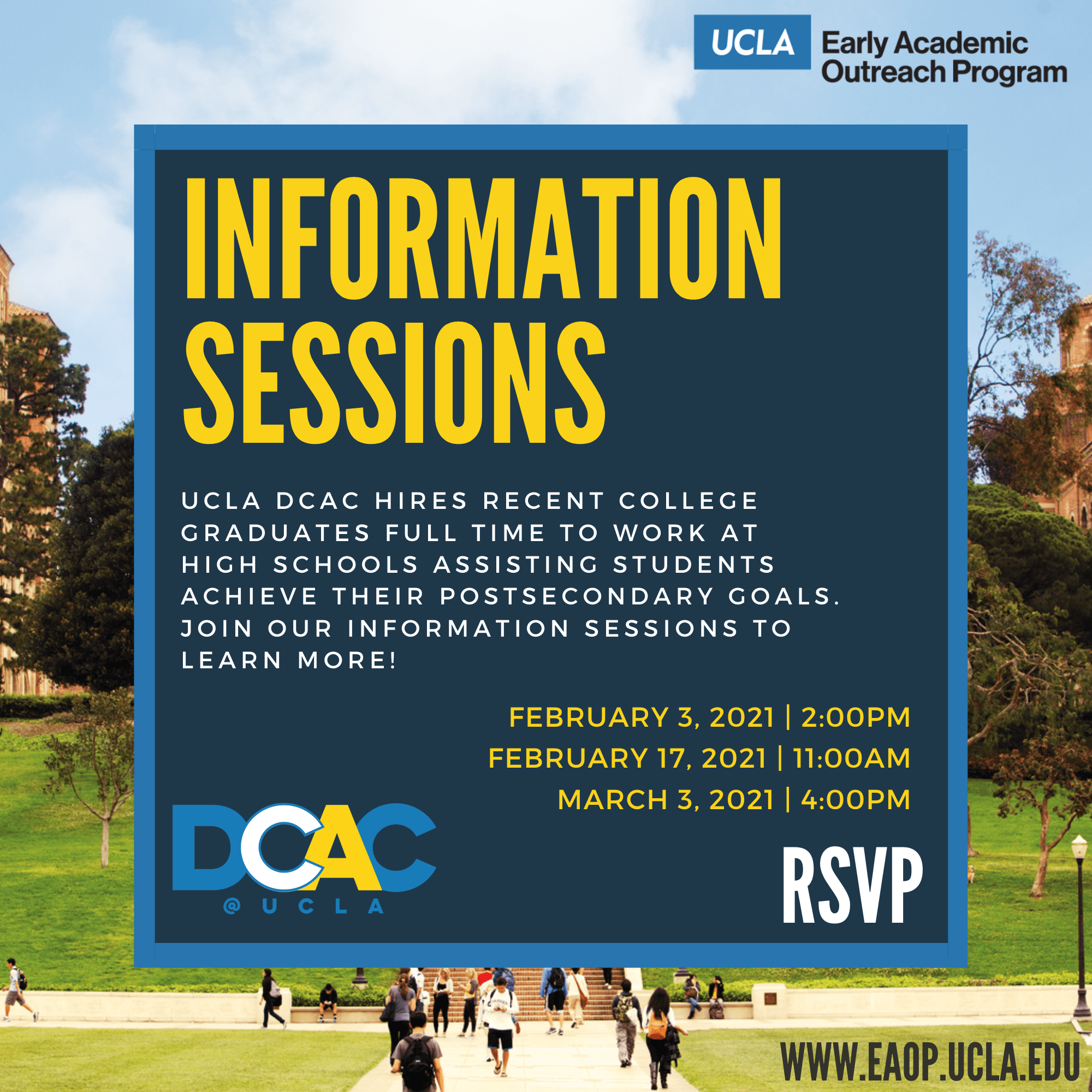 UCLA DCAC Informational Sessions infographic